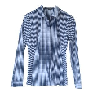 Lafayette 148 NY Blue Gingham Button Front Shirt
